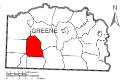 Location of Jackson Township in Greene County