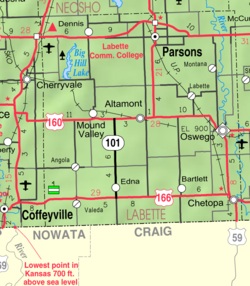 KDOT map of Labette County (legend)