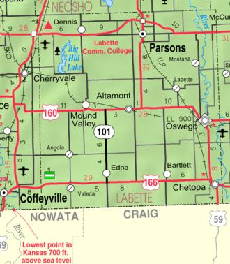 Parsons, Kansas - Image: Map of Labette Co, Ks, USA