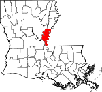 State map highlighting Concordia Parish