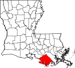 State map highlighting Terrebonne Parish