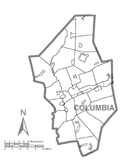 Map of Wilburton Number One, Columbia County, Pennsylvania Highlighted.png