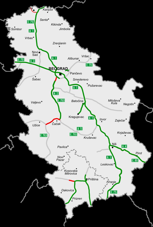 Map of motorways in Serbia nov