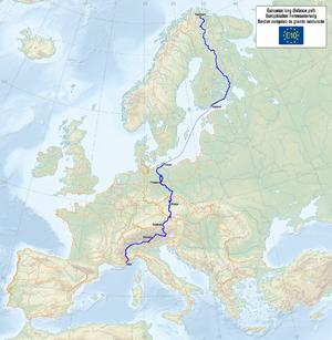 E10 European long distance path - Map of the E10 route