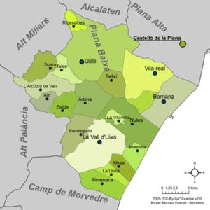 Plana Baixa - Image: Mapa de la Plana Baixa