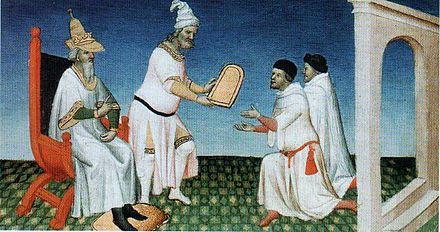 Les frères Polo recevant la «table d'or». Livre des merveilles, BNF Fr2810, vers 1410-1412.