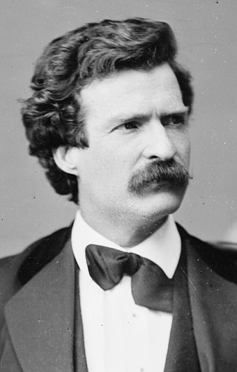 Mark Twain, American author and humorist. Mark Twain, Brady-Handy photo portrait, Feb 7, 1871, cropped.jpg
