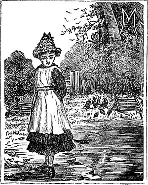Mary Jones and her Bible - Mary Jones as a young girl walking to a farm to read the Bible, before she bought her own copy. Illustration from 1919 edition of The story of Mary Jones and her Bible