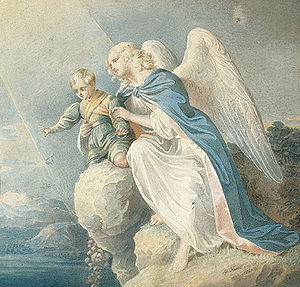 Matthäus Kern: Guardian angel, 1840, watercolo...