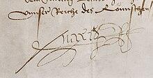 Die große Unterfertigung der Unterschrift Maximilians I. auf einer Urkunde vom 10.März 1497: Maxi(milianus) R(ex) s(ub)s(cripsit). Für Briefe verwendete er statt der Namensunterschrift meist die Sigle p(er) reg(em) p(er) s(e). (Quelle: Wikimedia)