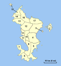 M'tsangamouji is commune number 13 on this map of Mayotte