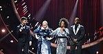Melodifestivalen 2019, deltävling 1, Scandinavium, Göteborg, programledarna, 8.jpg