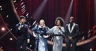 Melodifestivalen 2019 - 2019 hosts: Eric Saade, Sarah Dawn Finer, Marika Carlsson and Kodjo Akolor.