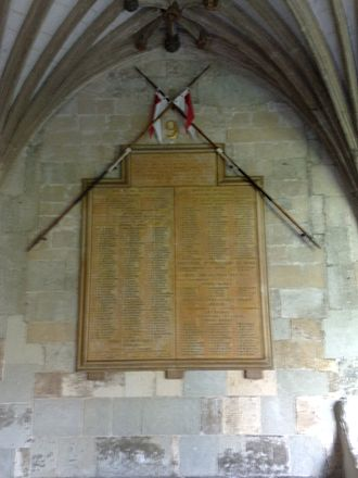 Francis Octavius Grenfell - Memorial board in the cloisters of Canterbury Cathedral to the officers and men of the 9th (Queen's Royal) Lancers who died during the First World War.