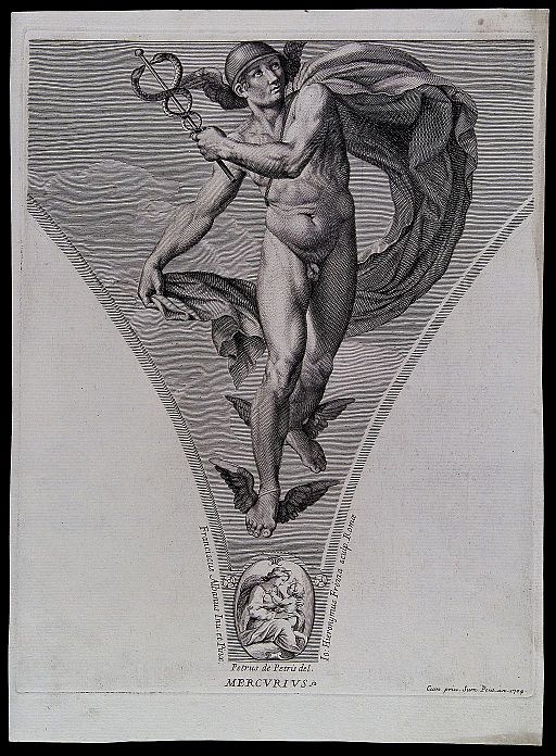 Mercury (Hermes). Engraving by G.H. Frezza, 1704, after P. d Wellcome V0035976