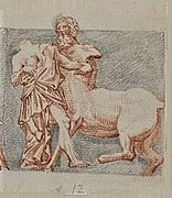 Drawing of a man fighting a centaur.
