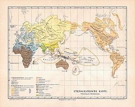 Немецкая этнографическая карта, на которой обозначен ареал расселения арийской расы