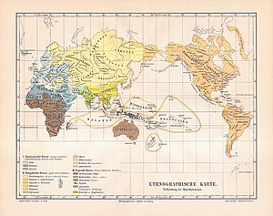 Race (human categorization) - The three great races according to Meyers Konversations-Lexikon of 1885-90. The subtypes of the Mongoloid race are shown in yellow and orange tones, those of the Caucasoid race in light and medium grayish spring green-cyan tones and those of the Negroid race in brown tones. Dravidians and Sinhalese are in olive green and their classification is described as uncertain. The Mongoloid race sees the widest geographic distribution, including all of the Americas, North Asia, East Asia, and Southeast Asia, the entire inhabited Arctic while they form most of Central Asia and the Pacific Islands.