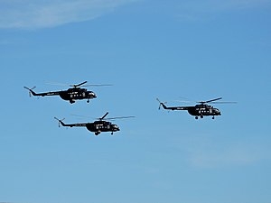 No. 6 Squadron SLAF - A fleet of Mi-17 helicopters take off from Rathmalana airport to celebrate SLAF's 66th anniversary.