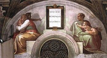 Josias, Ieconia e Salatiel de Michelangelo, na Capela Sistina, Vaticano.
