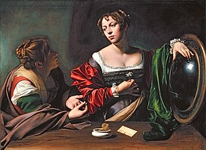 1598 in art - Image: Michelangelo Merisi da Caravaggio Martha and Mary Magdalene WGA04101