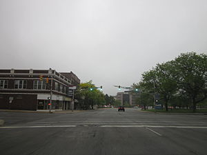 Indiana State Road 933 - Michigan Street at Monroe Street in downtown South Bend, 2012. Until 2016 this was the routing of SR 933 northbound.