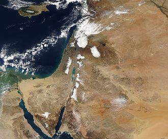 2013 Middle East cold snap - The Moderate Resolution Imaging Spectroradiometer (MODIS) on NASA's Terra satellite acquired this image of the snow on December 15 after the clouds cleared. For the most part, the snow is confined to higher elevations in Syria, Egypt, Lebanon, Israel and the West Bank, and Jordan. Some lower-elevation desert regions in Syria are also snowy.