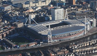 Cardiff Arms Park - The Millennium Stadium (south ground - right) and Cardiff Arms Park (north ground - left)