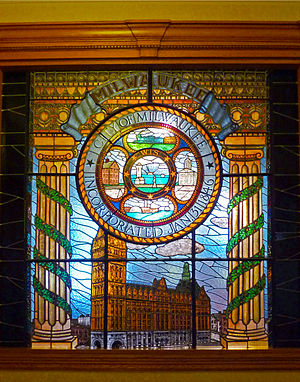 Seal of Milwaukee - Seal featured in WPA stained glass window.