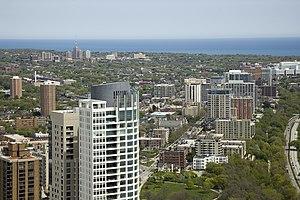 University of Wisconsin–Milwaukee - UWM campus (background, upper left) and East Milwaukee.