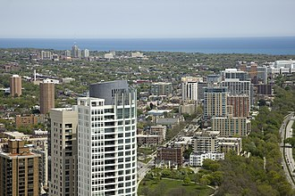 University of Wisconsin–Milwaukee - UWM campus (background, upper left) and East Milwaukee.
