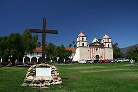Mission Santa Barbara with cross in front
