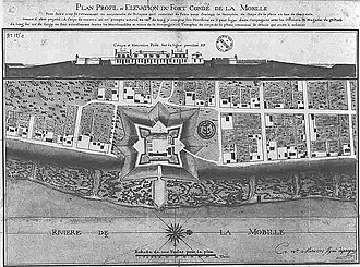 "Fort Conde -  Map of ""Mobille"" from 1725, showing Fort Condé in form of a 7-pointed star along the Mobile River."