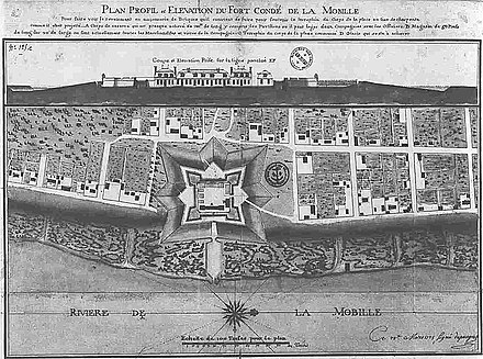 Mobile and the pentagonal Fort Conde in 1725 Mobile1725.jpg