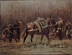 Mobiles conduisant des mulets d'ambulance, fragment du panorama de La Bataille de Champigny.jpg