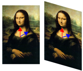 Fig. 1. In this shear mapping of the Mona Lisa, the picture was deformed in such a way that its central vertical axis (red vector) has not changed direction, but the diagonal vector (blue) has changed direction. Hence the red vector is an eigenvector of the transformation and the blue vector is not. Since the red vector was neither stretched nor compressed, its eigenvalue is 1. All vectors with the same vertical direction - i.e., parallel to this vector - are also eigenvectors, with the same eigenvalue. Together with the zero-vector, they form the eigenspace for this eigenvalue.