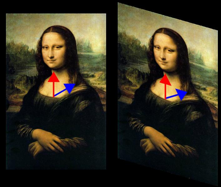 En esta transformación de la Mona Lisa, la imagen se ha deformado de tal forma que su eje vertical no ha cambiado. (nota: se han recortado las esquinas en la imagen de la derecha). El vector azul, representado por la flecha azul que va desde el pecho hasta el hombro, ha cambiado de dirección, mientras que el rojo, representado por la flecha roja, no ha cambiado. El vector rojo es entonces un vector propio de la transformación, mientras que el azul no lo es. Dado que el vector rojo no ha cambiado de longitud, su valor propio es 1. Todos los vectores de esta misma dirección son vectores propios, con el mismo valor propio. Forman el espacio propio de este valor propio.