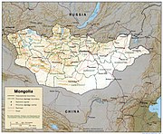 The southern portion of Mongolia is taken up by the Gobi Desert, while the northern and western portions are mountainous