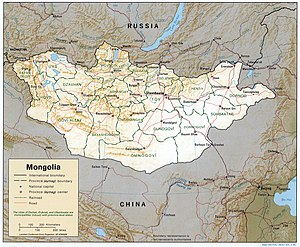 Detailed map of Mongolia