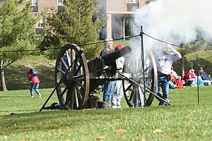 Monmouth College - Procured by the senior class of 1903 as its graduation gift to the institution, Monmouth College's Civil War-era cannon spent 50 years at the bottom of a creek after having been stolen by the rival junior class. Today the restored weapon, which is technically an artillery rifle, resides in the basement of the Huff Athletic building. It was once used to signal Monmouth College touchdowns in the annual Homecoming football game.