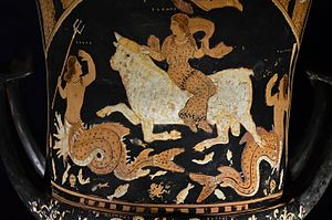 The White Bull - Krater (350–340 BC), believed to have been painted by Asteas (National Archaeological Museum at Paestum, Italy). Depicts Europa and Zeus, the latter in the guise of a white bull, trampling sea monsters and miscellaneous sea life.