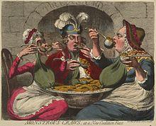 """""""Monströse Kröpfe bei einem neuen Koalitionsmahl"""": Eine Karikatur aus dem Jahre 1787, die den späteren Georg IV. mit Straußenfedern geschmückt zwischen seinen Eltern zeigt. (Quelle: Wikimedia)"""
