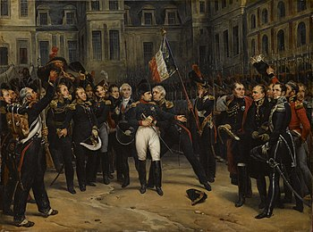Napoleon Bonaparte's Farewell to the Imperial Guard at Fontainebleau, painting by Antoine Alphonse Montfort