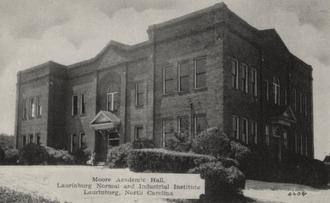 Laurinburg Institute - Postcard image of Moore Academic Hall at the Laurinburg Institute