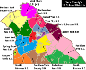 More Color Map of York County Pennsylvania School Districts
