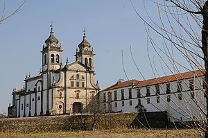 Monastery of São Martinho de Tibães - View of the Monastery of Tibães showing the church façade.