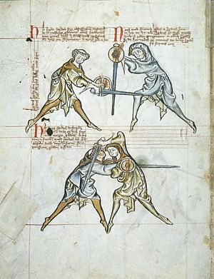 Swordsmanship - The MS I.33 manuscript, dated to ca. 1290, shows fencing with the arming sword and the buckler.