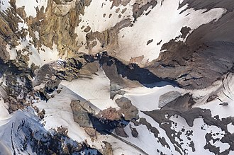 Mount Hood climbing accidents - Aerial mosaic photo of summit crater: left is north, the Bergschrunde and Hogsback left of center