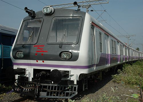 White and purple coloured MRVC Siemens rakes on the Western Line - Mumbai Suburban Railway
