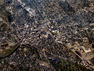 Delaware County, Indiana - Image: Muncie indiana downtown from above